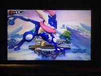 Glitch del personaje gigante sobre Greninja SSB4 (3DS).jpg