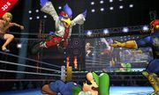 Falco, Luigi, Shulk, Captain Falcon en el Cuadrilátero SSB4 (3DS).jpg