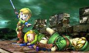 Espadachín Mii con el gorro y el traje de Link junto con Link y Toon Link en el Bosque génesis SSB4 (3DS).jpg