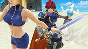 Roy, Samus Zero y la Entrenadora de Wii Fit en Pilotwings SSB4 (Wii U).jpg