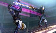 Lucina atacando a Sheik en el Coliseo de Regna Ferox SSB4 (3DS).jpg