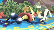 Greninja tirado al suelo junto al Entrenador Wii Fit SSB4 (Wii U).png