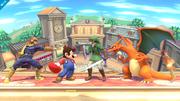 Captain Falcon, Mario, Link y Charizard en una batalla por equipos SSB4 (Wii U).png