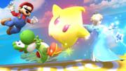 Estela atacando con Destello a Mario y a Yoshi en Pilotwing SSBWiiU.png