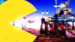 Pac-Man usando su Smash Final contra Pit en el Campo de batalla