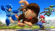 Mega Man, DK, Link y Mario en el campo de batalla SSB4 (Wii U).jpg
