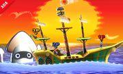 Mario, Luigi y La Entrenadora de Wii Fit en el escenario de Paper Mario SSB4 (3DS) (2).jpg