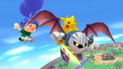 Pikachu, Aldeano y Meta Knight en Sobrevolando el pueblo SSB4 (Wii U).png
