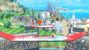 Aldeano, Samus Zero, Olimar y Kirby en Islas Wuhu SSB4 (Wii U).jpg