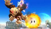 Donkey Kong siendo lastimado por el Hothead en el campo de batalla SSB4 (Wii U).jpg