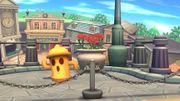 Giroide en el fondo del escenario Ciudad Smash SSB4 (Wii U).jpg