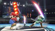 Link con la Espada laser y Mario con la Barrera de fuego SSB4 (Wii U).jpg