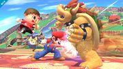 Aldeano y Mario atacando a Bowser SSB4 (Wii U).jpg