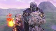 Ganondorf junto a Zelda en el Castillo de Hyrule SSBU.jpg