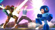 Entrenadora de Wii Fit atacando a Samus y Mega Man SSB4 (Wii U).jpg