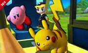 Toon Link Kirby y Pikachu en el Tren de los Dioses SSB4 (3DS).jpg