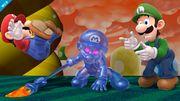 Mario Oscuro, Mario y Luigi en SSB4 (Wii U).jpg