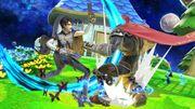 Bayonetta atacando a Ganondorf en Mario Galaxy SSBU.jpg