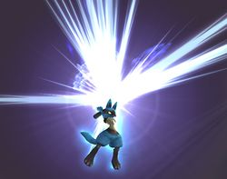 Lucario realizando Tormenta Aural en Super Smash Bros. Brawl