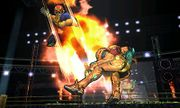 Captain Falcon usando su Patada Falcon contra Samus SSB4 (3DS).jpg