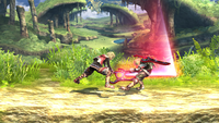 Shulk usando el Ataque dorsal en Super Smash Bros. for Wii U