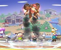 Diddy Kong usando los Barriles retropropulsados en Super Smash Bros. Brawl