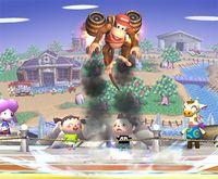 Diddy Kong usando los Barriles retropropulsados en Super Smash Bros. Brawl