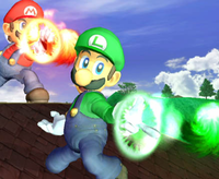 Mario y Luigi lanzando bolas de fuego en Super Smash Bros. Melee