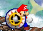 Mario sosteniendo un bumper SSB.png