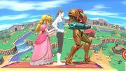 Peach Samus y la Entrenadora de Wii Fit en Ciudad Smash (SSB for Wii U).jpg