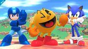 Mega Man, Pac-Man y Sonic en Sobrevolando el Pueblo SSB4 (Wii U).jpg