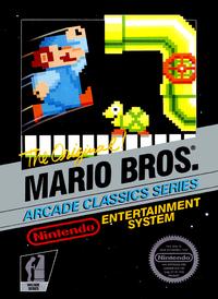 Carátula NTSC de la versión de NES de Mario Bros. En las carátulas de otras regiones también puede verse el traje azul de Mario.
