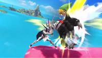 Corrin utilizando el ataque en Super Smash Bros. for Wii U.