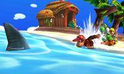 Diddy Kong, Yoshi y Toon Link en la Isla Tórtimer SSB4 (3DS).jpg