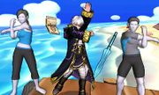Entrenador y Entrenadora de Wii Fit junto a Daraen en Isla Tórtimer SSB4 (3DS).jpg