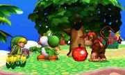 Toon Link, Yoshi y Diddy Kong en la Isla Tórtimer SSB4 (3DS).jpg