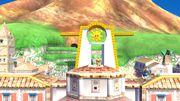 Olimar, Samus Zero y la Entrenadora de Wii Fit en Ciudad Delfino SSB4 (Wii U).jpg