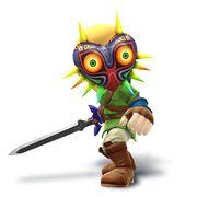 Artwork de Espadachín Mii con la Máscara de Majora y el traje de Link.jpg
