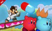 Dr. Mario y dos Kirby en Isla de Yoshi SSB4 (3DS).jpg