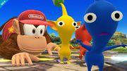 Diddy Kong y dos Pikmin en Altárea SSB4 (Wii U).jpg