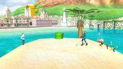 Olimar con Samus Zero y la Entrenadora de Wii Fit en Ciudad Delfino SSB4 (Wii U).jpg