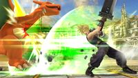 Cloud utilizando el ataque en Super Smash Bros. para Wii U.