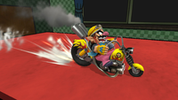 Wario sobre su moto en Super Smash Bros. for Wii U