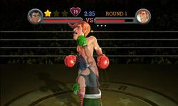 "Little Mac realizando el ""Star Punch"" en Punch-Out!! (Wii)."