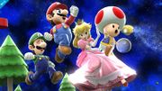 Luigi, Peach y Mario en Galaxia Mario SSB4. Wii U.jpg