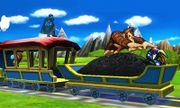 Greninja, Marth y Donkey Kong en el Tren de los Dioses SSB4 (3DS).jpg