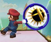 Mario sosteniendo un bumper SSBB.jpg