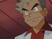 Profesor Oak observando la Poké Ball que le ha transferido Ash.