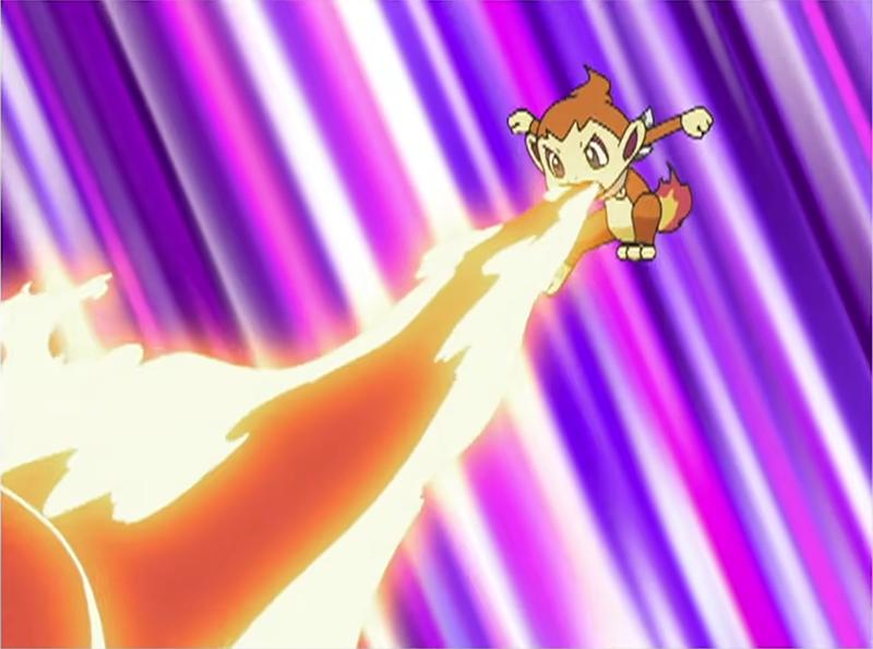 Chimchar usando lanzallamas.