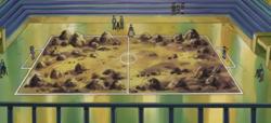 Campo de batalla del Gimnasio de Férrica en el anime